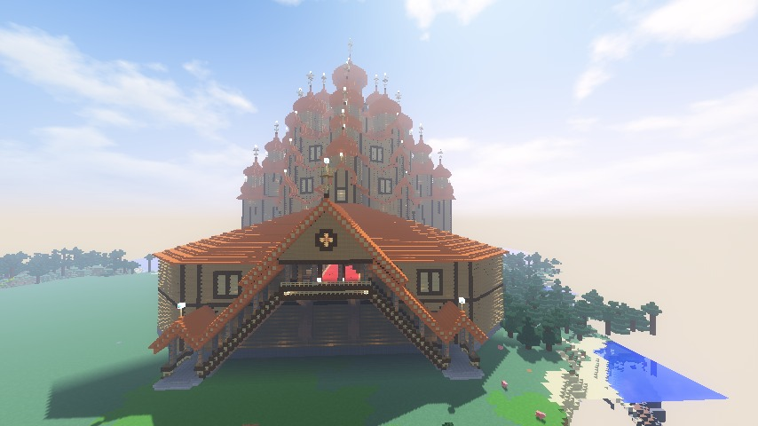 Minecrafterししゃもがマインクラフトでぷっこ村にプレオジェンスカヤ教会っぽいのを建築する11