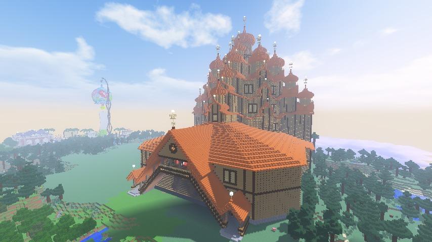 Minecrafterししゃもがマインクラフトでぷっこ村にプレオジェンスカヤ教会っぽいのを建築する10