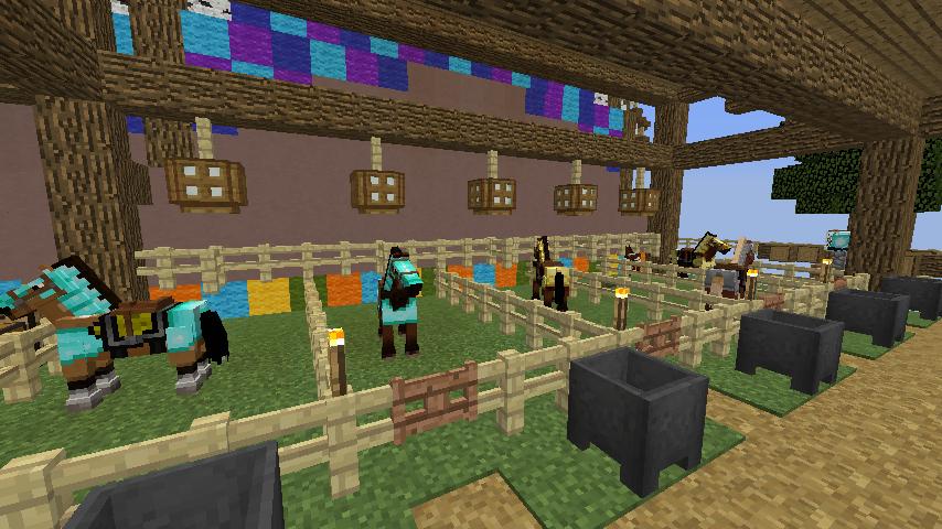 Minecrafterししゃもがマインクラフトでぷっこ村にゼルダの伝説の馬宿を作る7