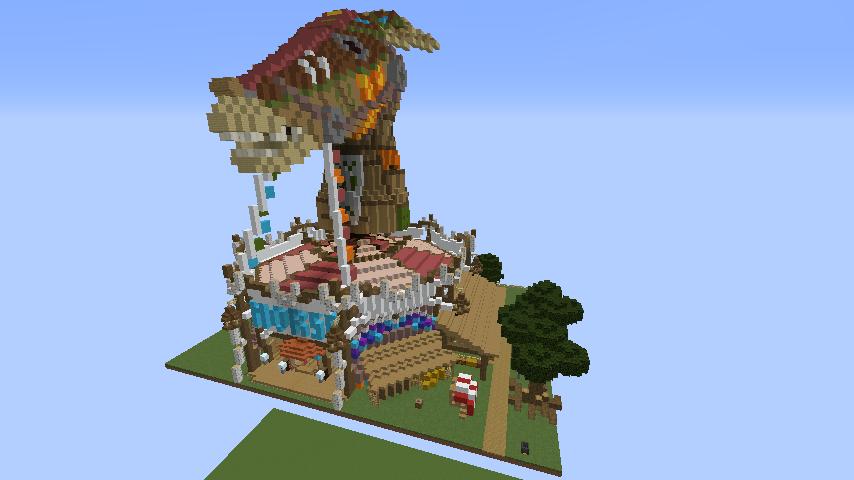 Minecrafterししゃもがマインクラフトでぷっこ村にゼルダの伝説の馬宿を作る8
