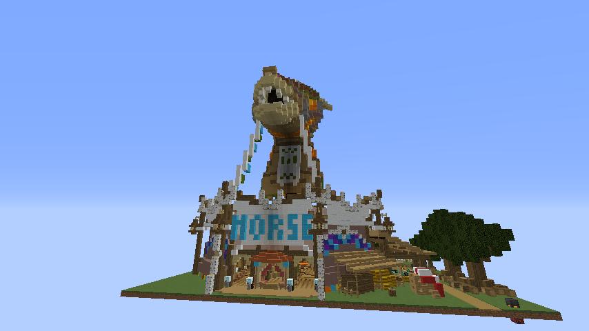Minecrafterししゃもがマインクラフトでぷっこ村にゼルダの伝説の馬宿を作る9