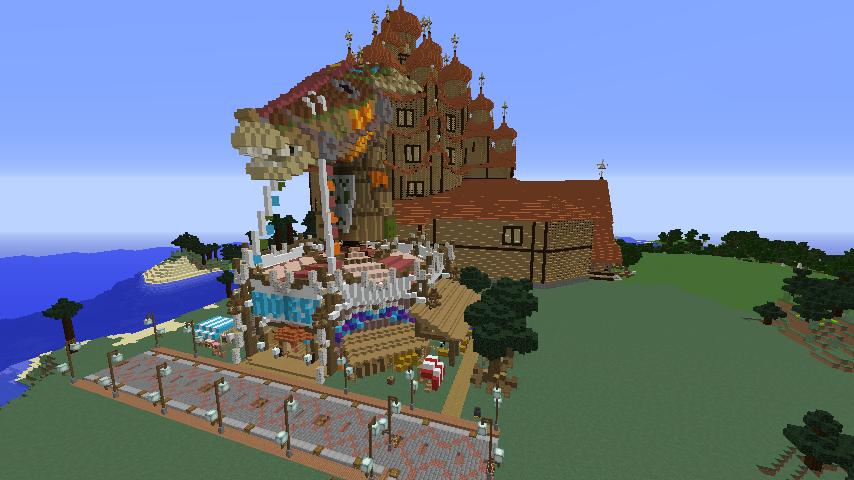 Minecrafterししゃもがマインクラフトでぷっこ村にゼルダの伝説の馬宿を作る11