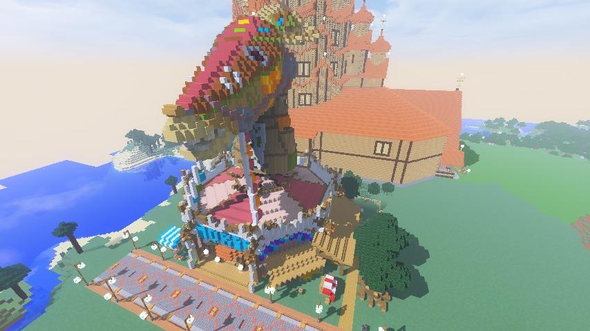 Minecrafterししゃもがマインクラフトでぷっこ村に作った馬宿で馬の借り方を紹介する10