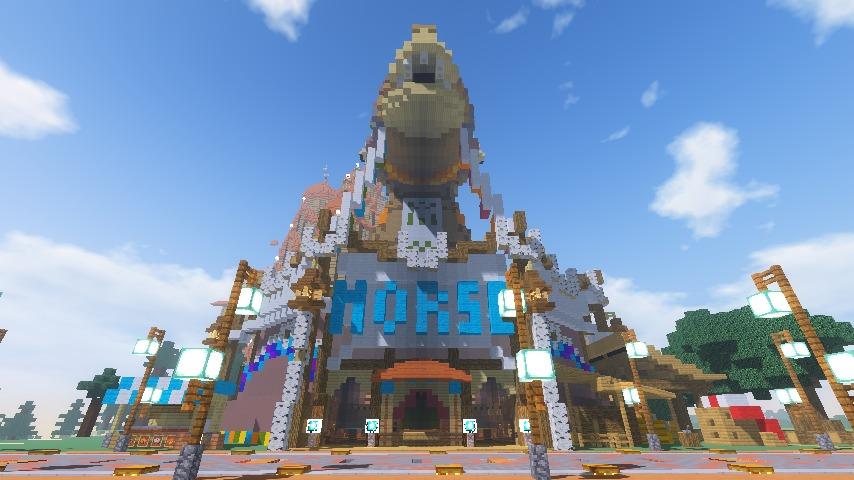 Minecrafterししゃもがマインクラフトでぷっこ村に作った馬宿で馬の借り方を紹介する12
