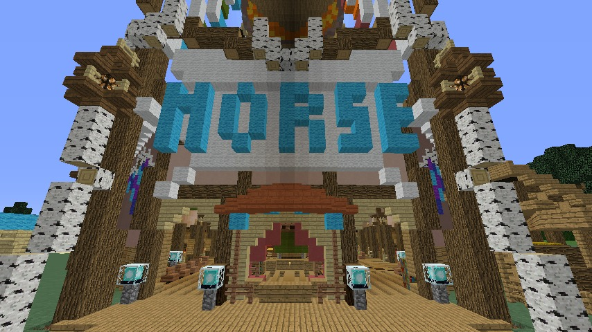Minecrafterししゃもがマインクラフトでぷっこ村に作った馬宿で馬の借り方を紹介する1