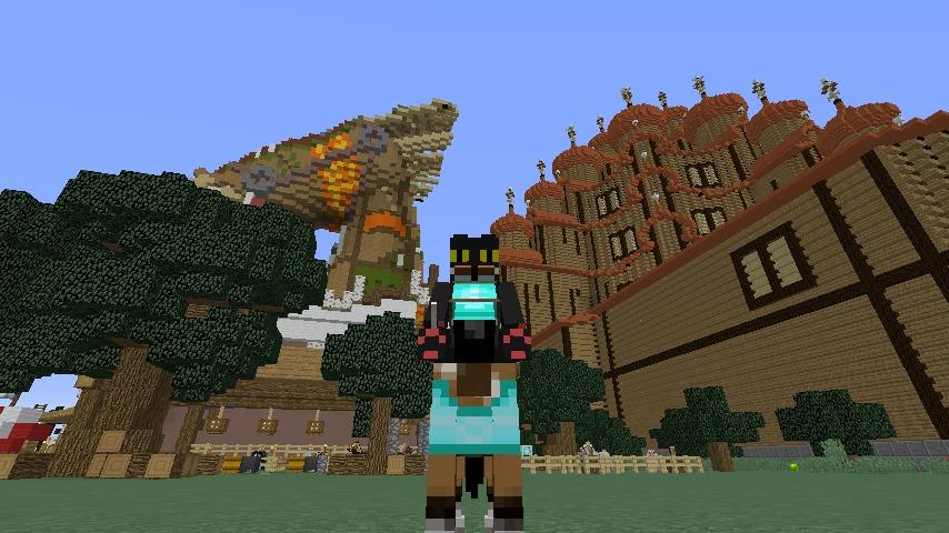 Minecrafterししゃもがマインクラフトでぷっこ村に作った馬宿で馬の借り方を紹介する5