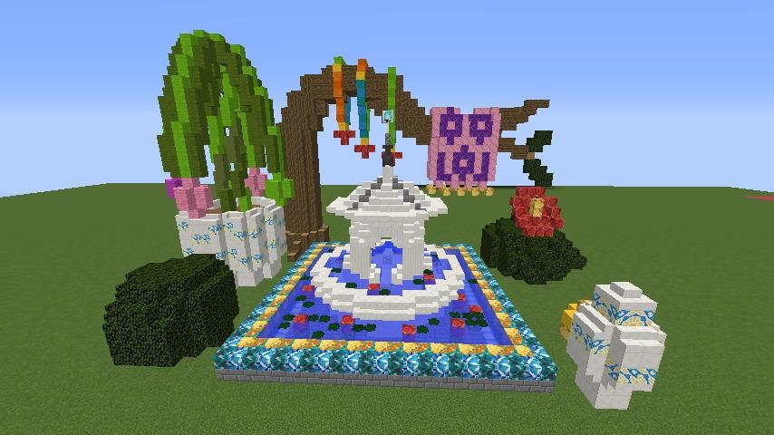 Minecrafterししゃもがマインクラフトでぷっこ村にアジアな噴水を作る7