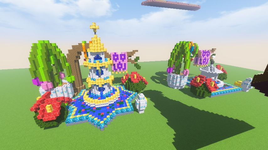 Minecrafterししゃもがマインクラフトでぷっこ村にアジアな噴水を作る12
