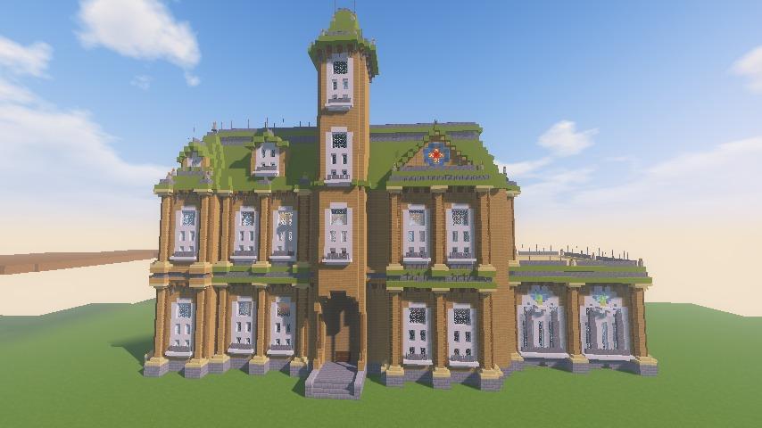 Minecrafterししゃもがマインクラフトでぷっこ村にアダムスファミリーの屋敷を作る14