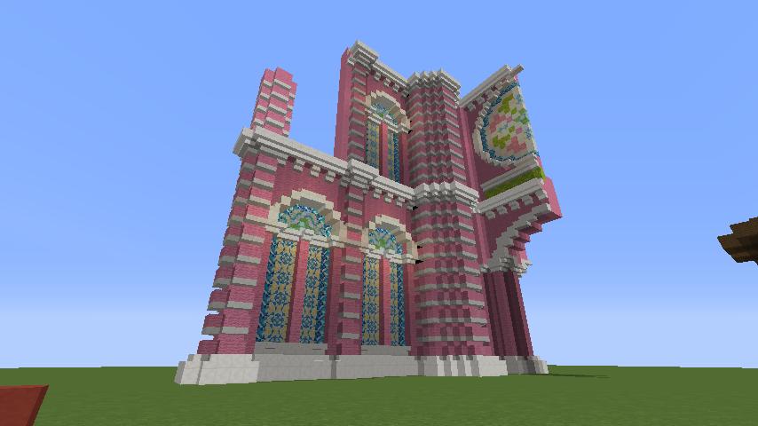 Minecrafterししゃもがマインクラフトでぷっこ村にタンディン教会を再現してみる3