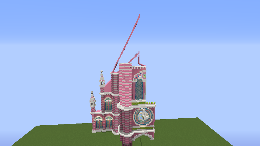 Minecrafterししゃもがマインクラフトでぷっこ村にタンディン教会を再現してみる4