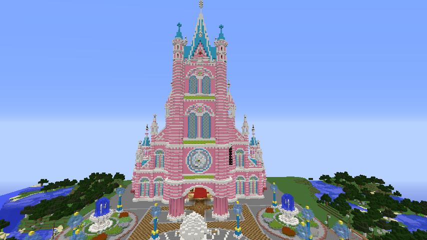 Minecrafterししゃもがマインクラフトでぷっこ村にピンクの教会を移築する3