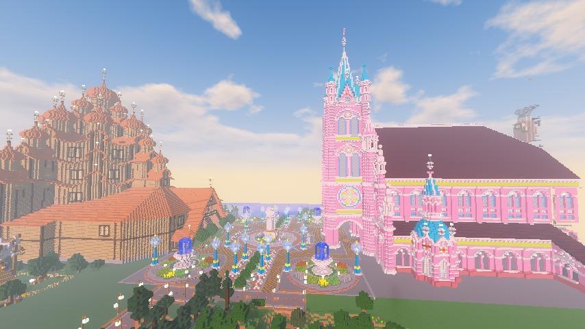Minecrafterししゃもがマインクラフトでぷっこ村にピンクの教会を移築する6