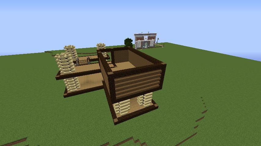 Minecrafterししゃもがマインクラフトでぷっこ村にキャットタワー型の新居を建築する8