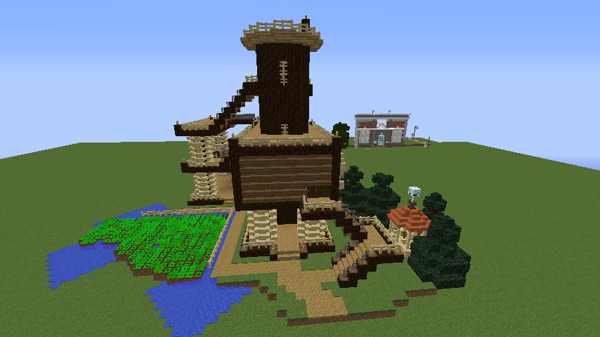 Minecrafterししゃもがマインクラフトでぷっこ村にキャットタワー型の新居を建築する9