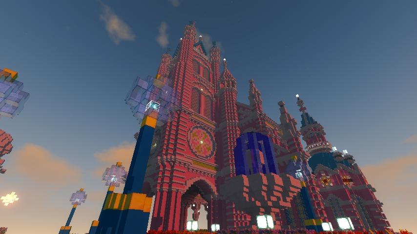 Minecrafterししゃもがマインクラフトでぷっこ村にピンクの教会を移築する4