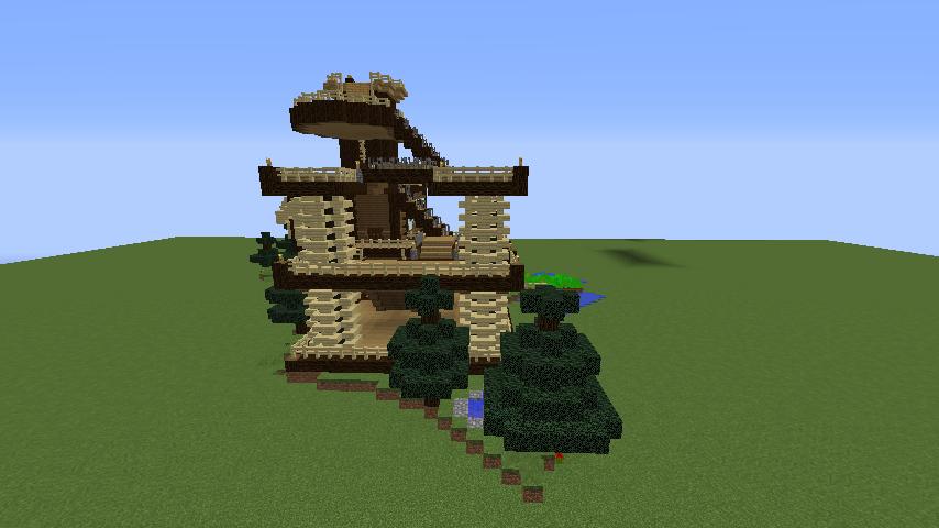 Minecrafterししゃもがマインクラフトでぷっこ村にキャットタワー型の新居を建築する11