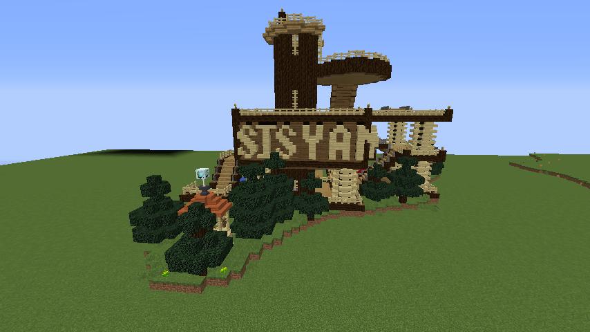 Minecrafterししゃもがマインクラフトでぷっこ村にキャットタワー型の新居を建築する10