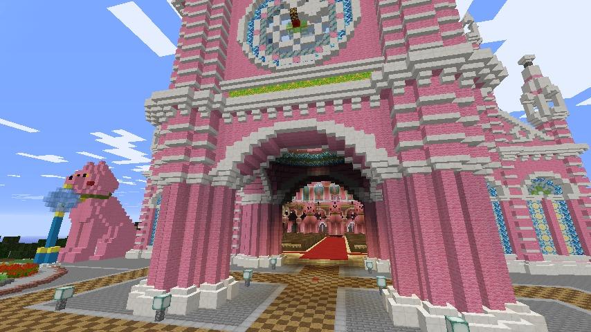 Minecrafterししゃもがマインクラフトでぷっこ村にピンクの教会を移築する8