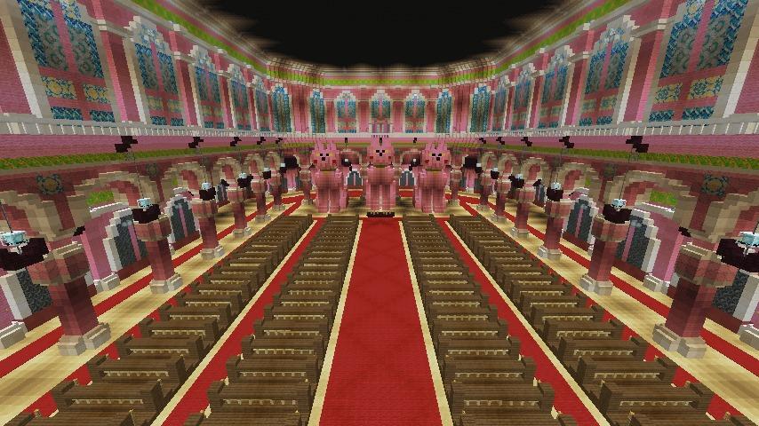 Minecrafterししゃもがマインクラフトでぷっこ村にピンクの教会を移築する9