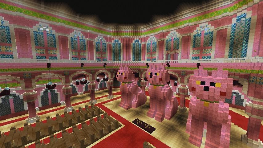 Minecrafterししゃもがマインクラフトでぷっこ村にピンクの教会を移築する10