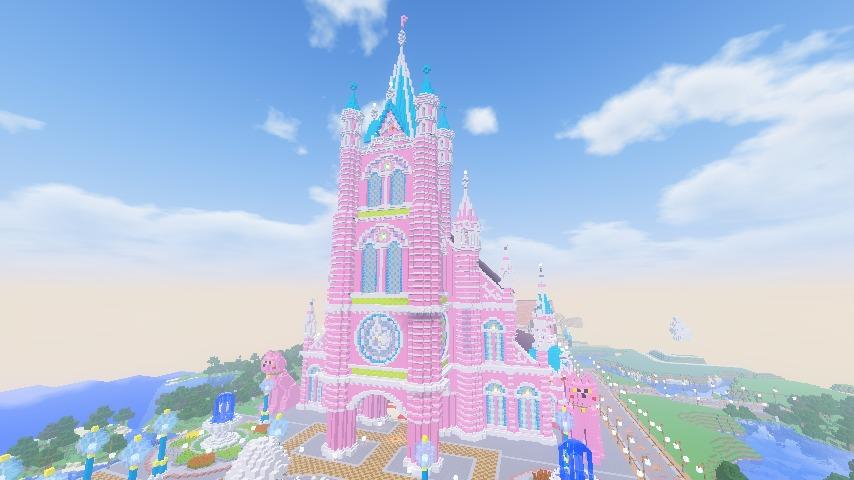Minecrafterししゃもがマインクラフトでぷっこ村にピンクの教会を移築する13