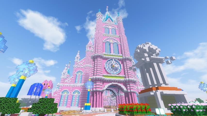Minecrafterししゃもがマインクラフトでぷっこ村にピンクの教会を移築する14