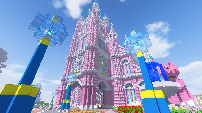 Minecrafterししゃもがマインクラフトでぷっこ村にピンクの教会を移築する15