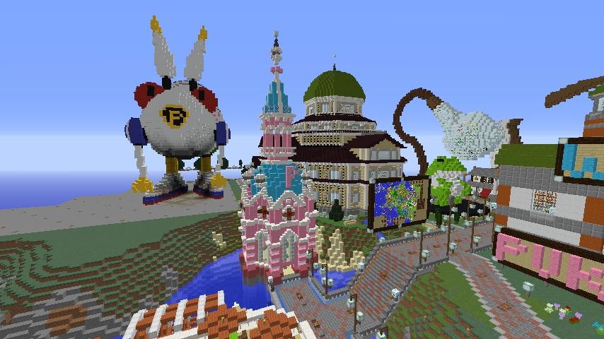 Minecrafterししゃもがマインクラフトでぷっこ村にオシャレな塔っぽいワープポイントを建築する4