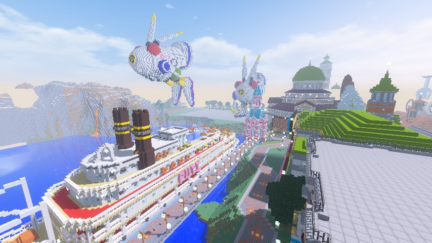 Minecrafterししゃもがマインクラフトでぷっこ村にオシャレな塔っぽいワープポイントを建築する11