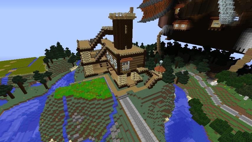 Minecrafterししゃもがマインクラフトでぷっこ村にキャットタワー型の新居を建築する12