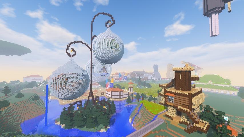 Minecrafterししゃもがマインクラフトでぷっこ村にキャットタワー型の新居を建築する14