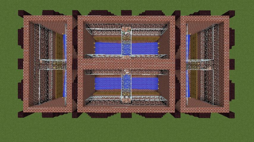 Minecrafterししゃもがマインクラフトでぷっこ村に反射炉型のアイアンゴーレムトラップをつくる7