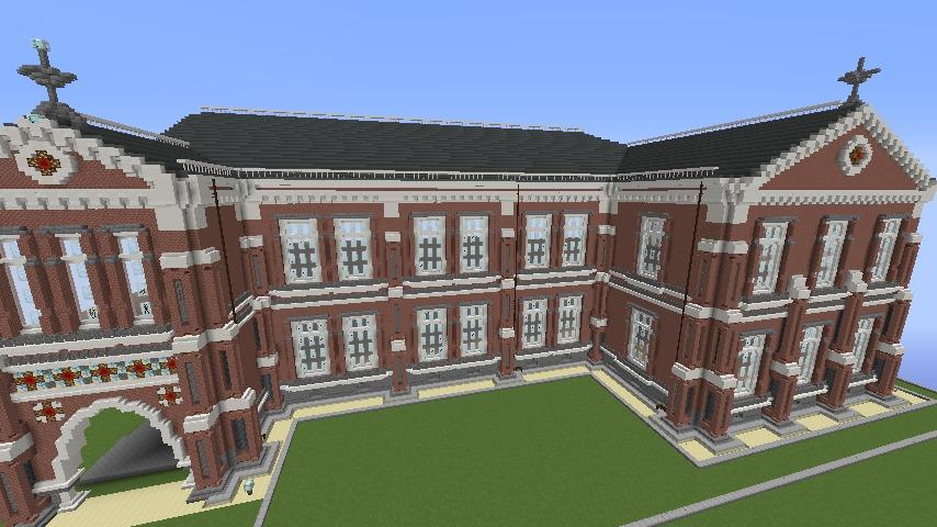 Minecrafterししゃもがマインクラフトでぷっこ村に東京国立近代美術館工芸館を再現建築する6