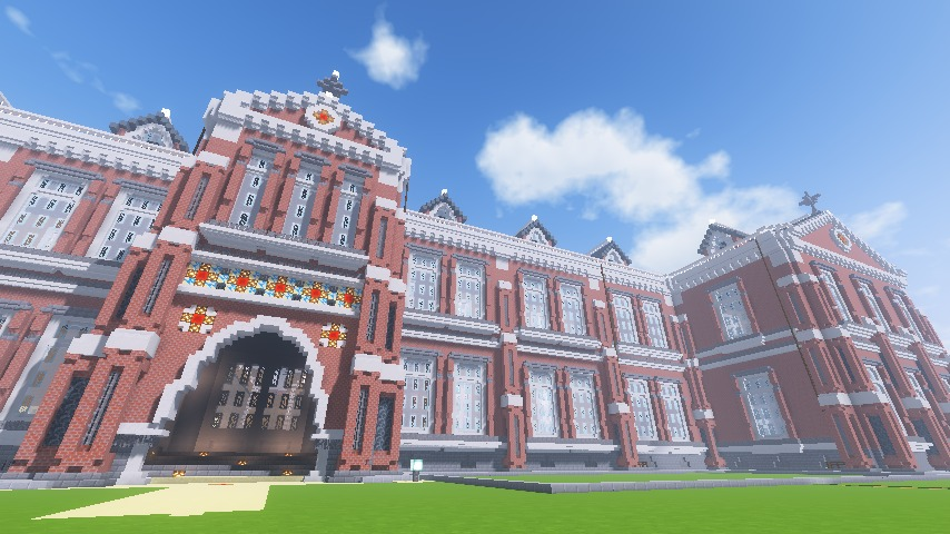 Minecrafterししゃもがマインクラフトでぷっこ村に東京国立近代美術館工芸館を再現建築する12