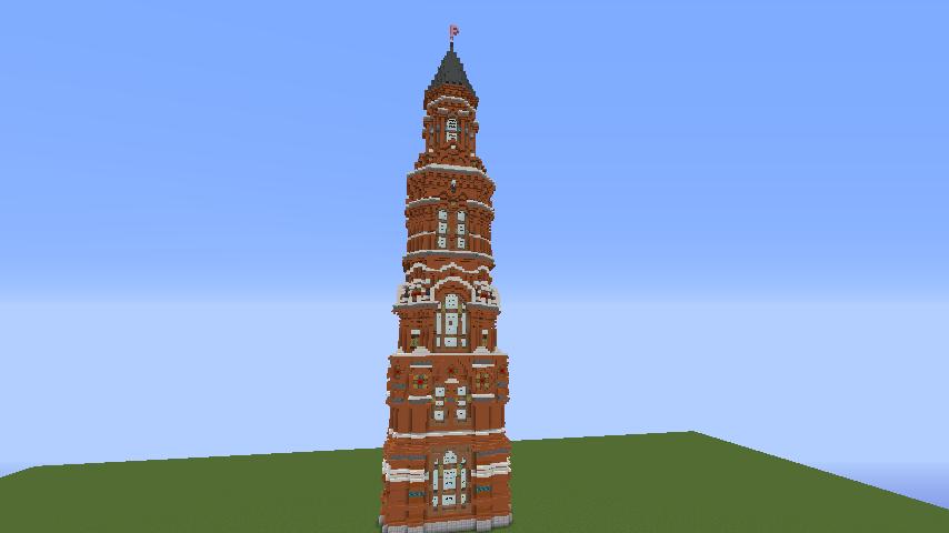 Minecrafterししゃもがマインクラフトでぷっこ村にロシア国立歴史博物館をモデルにしたぷっこ村長の別荘を建築する4