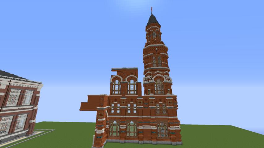 Minecrafterししゃもがマインクラフトでぷっこ村にロシア国立歴史博物館をモデルにしたぷっこ村長の別荘を建築する5