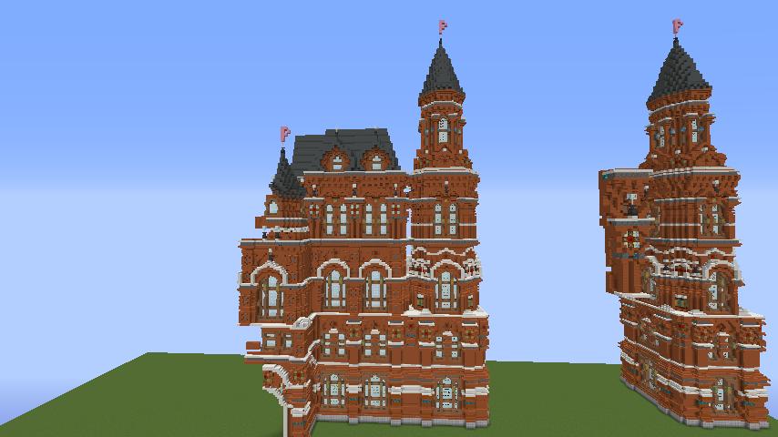Minecrafterししゃもがマインクラフトでぷっこ村にロシア国立歴史博物館をモデルにしたぷっこ村長の別荘を建築する6