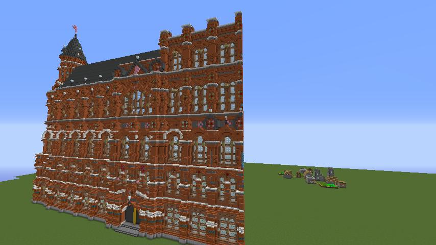 Minecrafterししゃもがマインクラフトでぷっこ村にロシア国立歴史博物館をモデルにしたぷっこ村長の別荘を建築する9