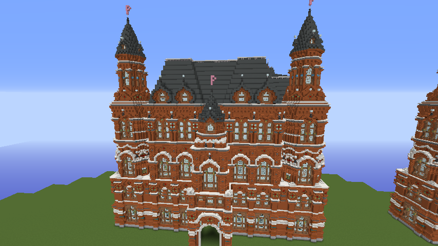 Minecrafterししゃもがマインクラフトでぷっこ村にロシア国立歴史博物館をモデルにしたぷっこ村長の別荘を建築する7