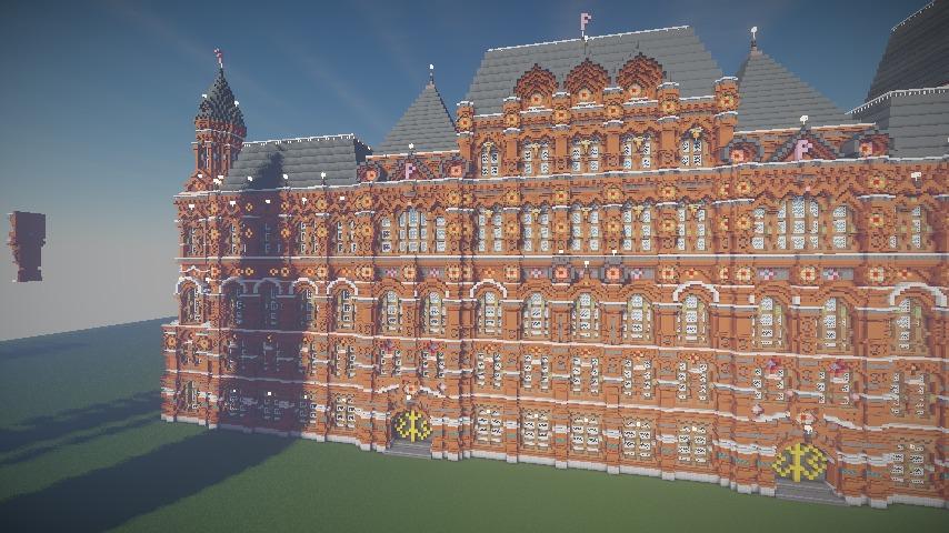 Minecrafterししゃもがマインクラフトでぷっこ村にロシア国立歴史博物館をモデルにしたぷっこ村長の別荘を建築する11