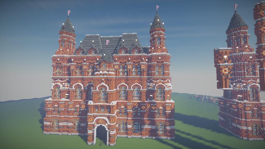 Minecrafterししゃもがマインクラフトでぷっこ村にロシア国立歴史博物館をモデルにしたぷっこ村長の別荘を建築する8