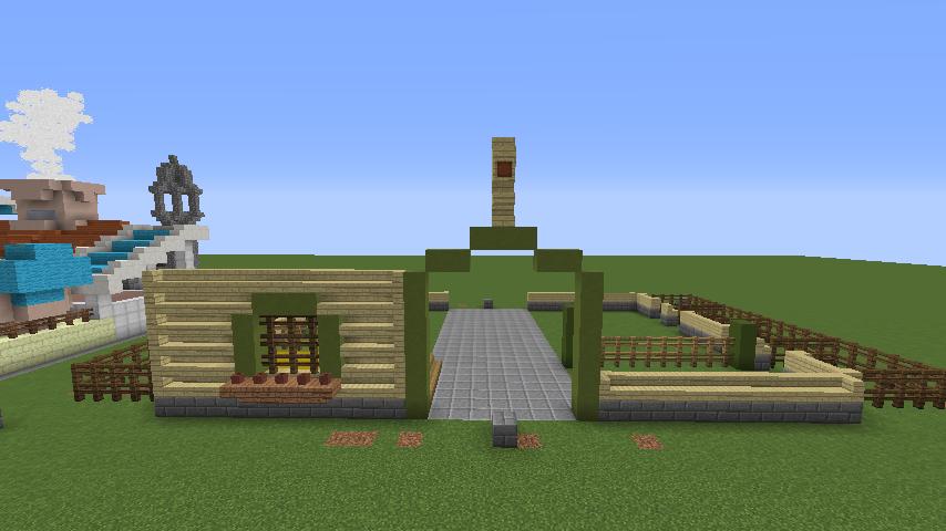 Minecrafterししゃもがマインクラフトでぷっこ村に豚専用の厩舎を建てる4