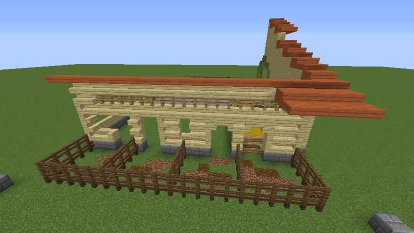 Minecrafterししゃもがマインクラフトでぷっこ村に豚専用の厩舎を建てる6