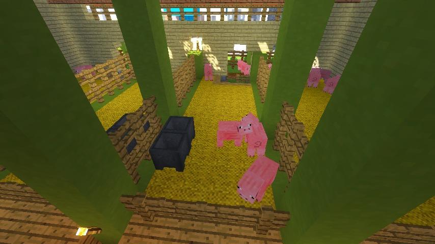 Minecrafterししゃもがマインクラフトでぷっこ村に豚専用の厩舎を建てる13