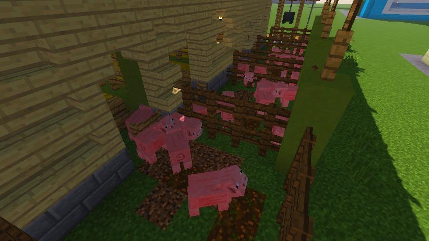 Minecrafterししゃもがマインクラフトでぷっこ村に豚専用の厩舎を建てる16