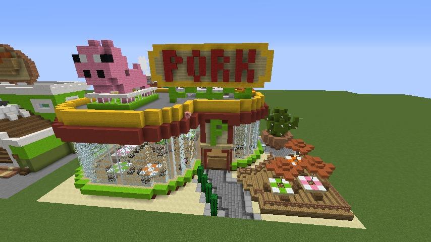 Minecrafterししゃもがマインクラフトでぷっこ村にポークレストランを作る11