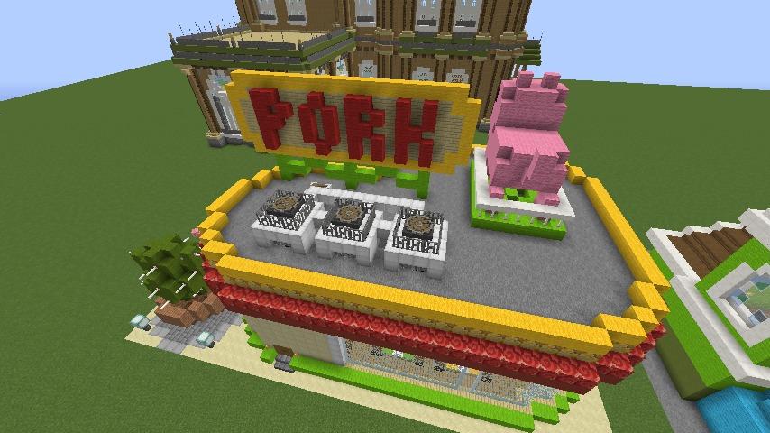 Minecrafterししゃもがマインクラフトでぷっこ村にポークレストランを作る12