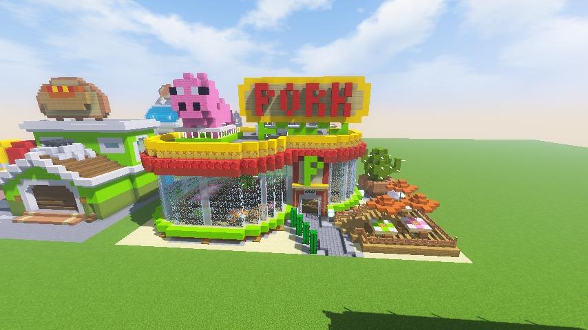 Minecrafterししゃもがマインクラフトでぷっこ村にポークレストランを作る15