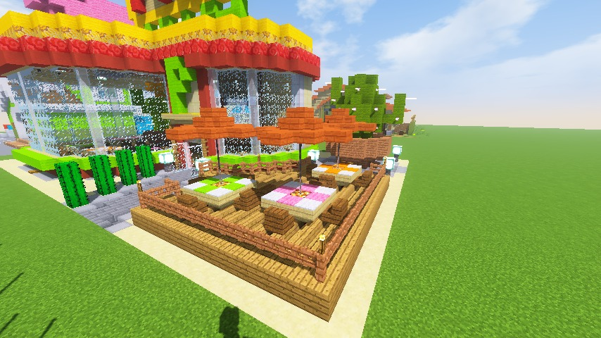 Minecrafterししゃもがマインクラフトでぷっこ村にポークレストランを作る16